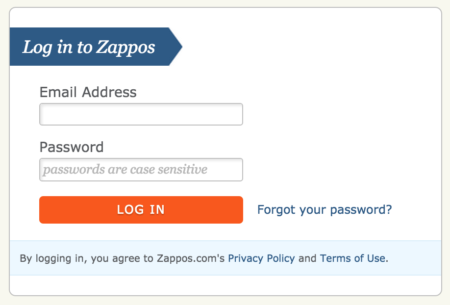 micro copy zappos passwords
