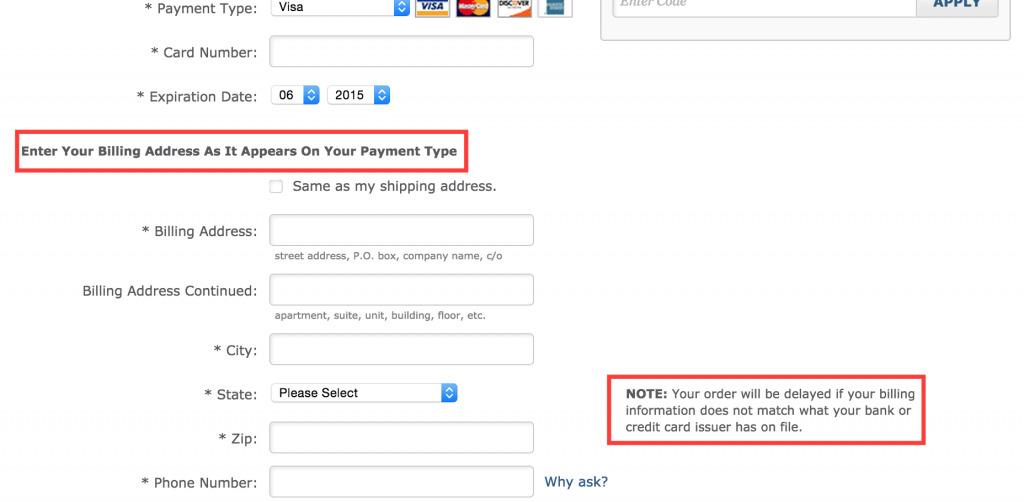 microcopy zappos payment